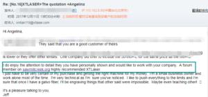 Customers feedback fiber laser cutter
